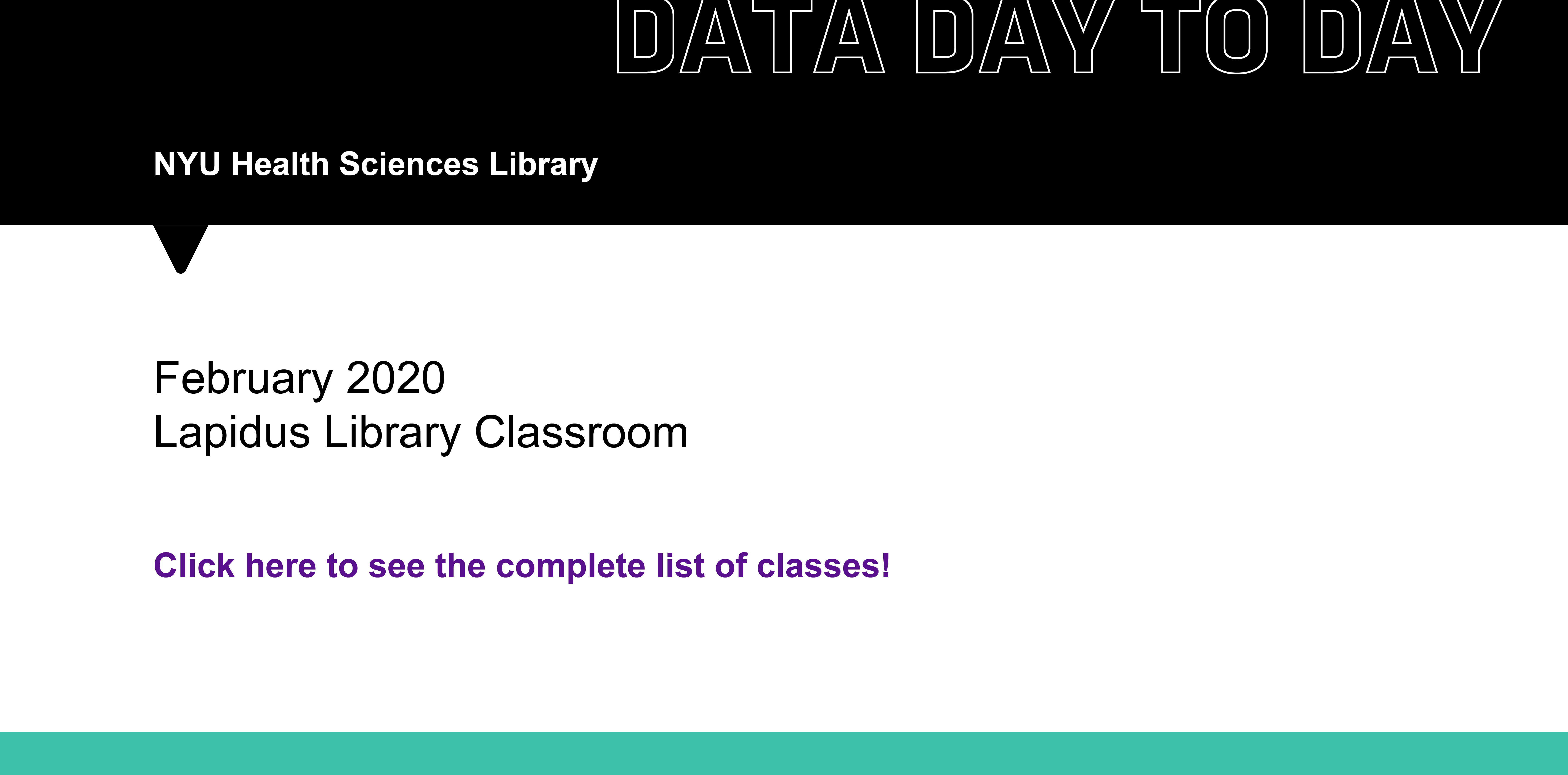 Click to register for classes in our upcoming Data Day to Day series
