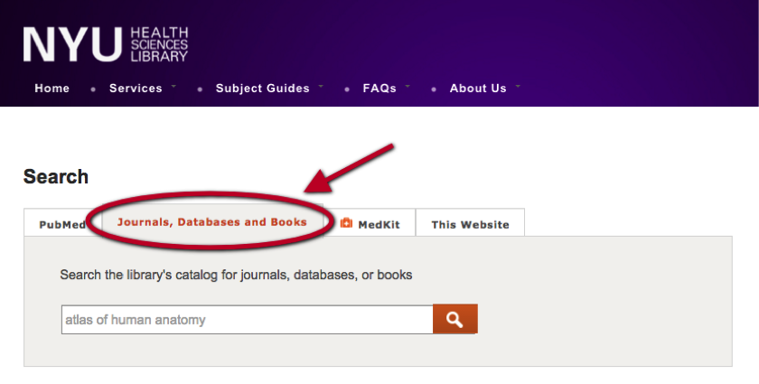 Click on the tab that says Journals, Databases and Books to search these resources