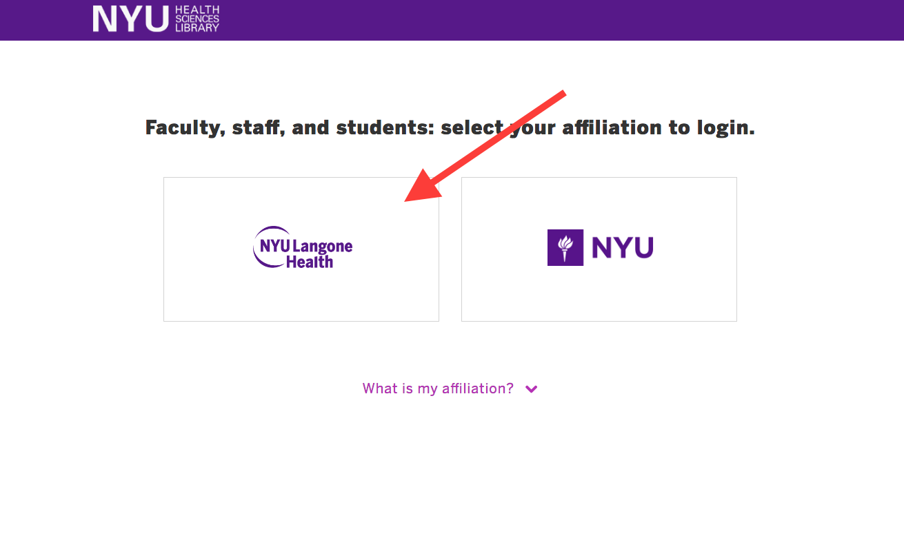 Choose your affiliation to login